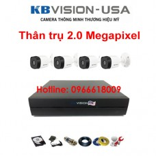 Bộ 4 camera KBVISION thân trụ 2.0 Megapixel