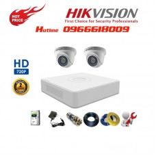 Bộ 2 Camera Dome HIKVISION 1.0MP