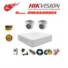 Bộ 2 Camera Dome HIKVISION 2.0MP