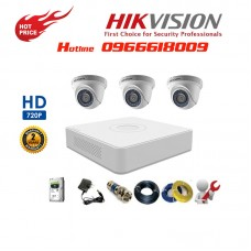 Bộ 3 Camera Dome HIKVISION 1.0MP