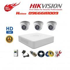 Bộ 3 Camera Dome HIKVISION 1.0MP