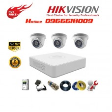 Bộ 3 Camera Dome HIKVISION 2.0MP