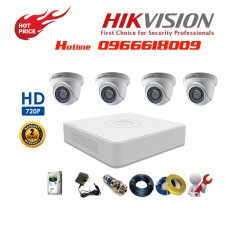 Bộ 4 Camera Dome HIKVISION 1.0MP