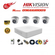 Bộ 4 Camera Dome HIKVISION 2.0MP