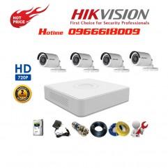 Bộ 4 Camera Thân HIKVISION 1.0MP