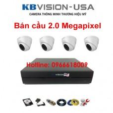 Bộ 4 camera KBVISION bán cầu 2.0 Megapixel