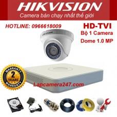 Bộ 1 camera dome HIKVISION 1.0 Megapixel