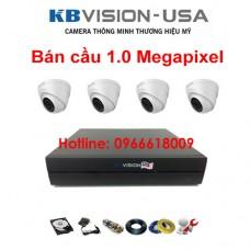 Bộ 4 camera KBVISION bán cầu 1.0 Megapixel