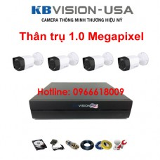 Bộ 4 camera KBVISION thân trụ 1.0 Megapixel