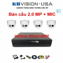 Bộ 4 camera KBVISION bán cầu 2.0 MP + Micro