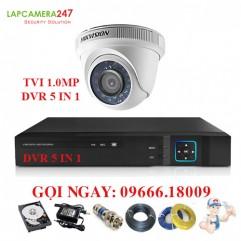 Bộ 1 camera Hikvision bán cầu hồng ngoại 1.0MP