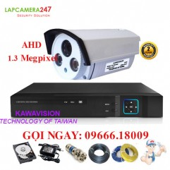 Bộ 1 camera KAWAVISION thân hồng ngoại 1.3 MP